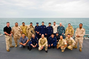 Two observers from the Kuwait Navy, two from the Royal Bahrain Navy (CTF 152 staff), one from the Qatari Emiri Navy, two from the United Arab Emirates Coast Guard, and two from the Jordanian Navy were all present aboard USS HIGGINS for the entirety of the exercise.