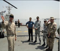 Left to Right - Flight Commander HMCS Toronto, CO HMCS TORONTO, CCTF-150 Cdre Asif Khaliq, Chief of Staff CTF-150 Capt Mohammad Tahir PN, CMF Analyst Lt Colin Peters   Photographed by: LT Waqas Bashir, Secy to CCTF-150