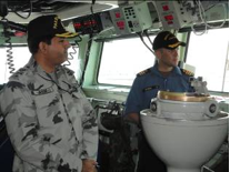 Commodore Asif Khaliq with CO HMCS TORONTO taking brief about capabilities of HMCS TORONTO Photographed by: LT Waqas Bashir, Secy to CCTF-150