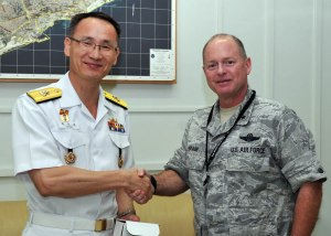 Commander CTF 151 RDML Chung meets Brigadier General Eugene Haase, Deputy Commander Combined Joint Task Force - Horn of Africa