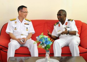 Commander CTF 151, RDML Chung meets Col Abdourahman Aden Cher, the Chief of the Djiboutian Navy