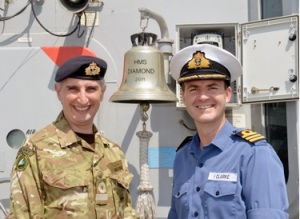 CO of HMS Diamond meets Commodore Simon Ancona, Deputy Commander of Combined Maritime Forces