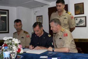 European Union Naval Force Commander Rear Admiral Enrico Credendino and Commander CTF 151 Rear Admiral Oguz Karaman