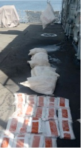 Seven 20-25kg bags of cannabis resin were recovered from the water by Northumberland's sea boat