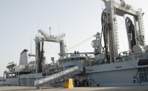 FS Somme prepares to sail from Bahrain. Her fuelling rig allows her to refuel other CTF 150 units at sea.