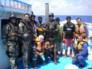 FS Somme's boarding team with the crew of the dhow they assisted