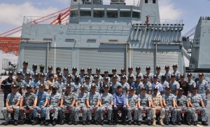 The incoming and outgoing battlestaff members of CTF 151 aboard RFA Fort Victoria in Salalah, Oman