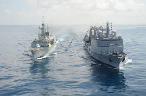 HMCS Toronto and FS Somme replenish at sea.