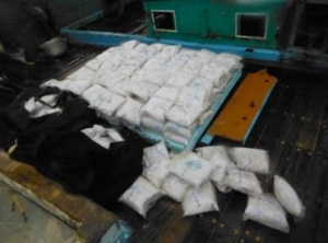 The 194kg haul of heroin which was seized and destroyed by the crew of HMCS Toronto