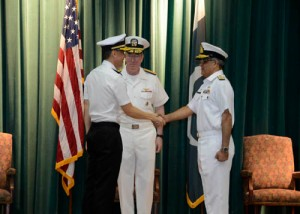 Rear Admiral Giam Hock Koon hands over command of  CTF 151 to Commodore Muhammad Ihsan Qadir