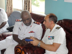 Captain Jean-Michel Martinet meets Rear Admiral Said Omar, head of the Tanzanian Navy