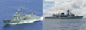 HMAS Newcastle (L) and HMCS Toronto in the Indian Ocean