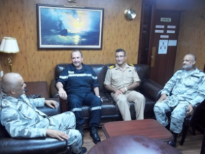 From left to right:  Commodore Muhammad Ihsan Qadir SI (M), Captain Hervé Bléjean, Commander Ahmet Gül, and Captain Khalid Pervez onboard TCG GÖKSU (F-497)