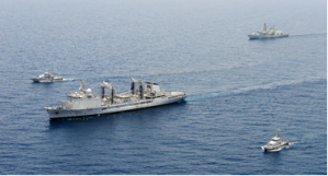 Common patrol with FS Somme, HMS Kent at the stern, the Yemen Coast Guard patrol boat in the foreground to the port of FS Somme and the Djibouti Navy patrol boat to the starboard of FS Somme.