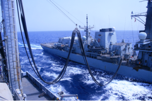 Replenishment at Sea (RAS) by FS SOMME for HMS Kent.