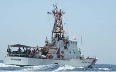 USCGC Wrangell combs the waters of the Gulf for the simulated casualty