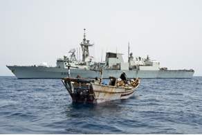 Red Sea, 28 Jun 2013: HMCS Toronto's boarding party searches a skiff in the Red Sea during Operation Artemis. (Photo: Corporal Malcolm Byers)