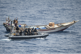 Red Sea, 28 Jun 2013: HMCS Toronto's boarding party approaches a skiff in the Red Sea during Operation Artemis. (Photo: Corporal Malcolm Byers)