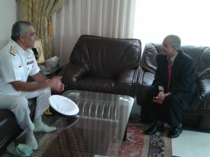 Commodore Muhammad Ihsan Qadir (left) discusses CTF 151's mission with Mohsin Hariz Nagi Ak Shaary, the Chargé d'affaires of the Yemeni Embassy in Oman