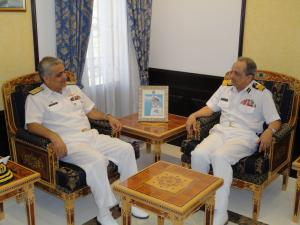 Commander, CTF 151 (left) and the Acting Commander of the Royal Navy of Oman (right) discuss counter-piracy operations at the headquarters of the Royal Navy of Oman