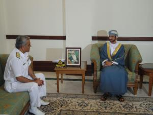 Commander of CTF 151, Commodore Muhammad Ihsan Qadir, meets with the Minister of State & Governor of Muscat, Sayyid Saud Bin Hilal Al Busaidi, at the Governor's office.