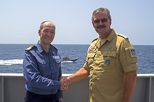 Cdre Jeremy Blunden RN, Commander Combined Task Force 151, with Cdre Henning Amundsen of the Norwegian Navy, Commander NATO Task Force 508, onboard HNoMS Fridtjof Nansen.