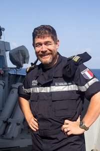 Lieutenant Commander Stephane Guillon French Navy from Brest, France onboard the Norwegian Frigate HNoMS Fridtjof Nansen.