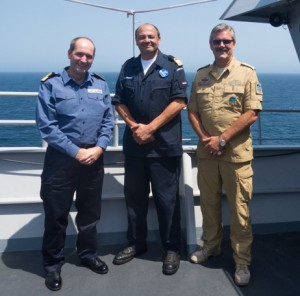 From left to right: Commodore Jeremy Blunden LVO Royal Navy (CTF151), Commodore Peter Lenselink Royal Netherlands Navy (CTF508) and Commodore Henning Amundsen Royal Norwegian Navy (CTF508) onboard HNLMS Johan de Witt in the Gulf of Aden.