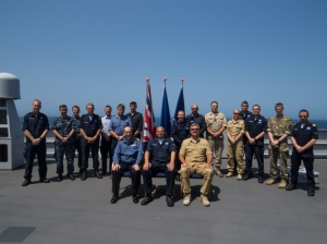 From left to right: Commodore Jeremy Blunden LVO Royal Navy (CTF151), Commodore Peter Lenselink Royal Netherlands Navy (CTF508) and Commodore Henning Amundsen Royal Norwegian Navy (CTF508) with members of staff from each command team onboard HNLMS Johan de Witt in the Gulf of Aden.