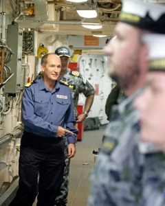 Commodore Blunden and Commander Brian Schlegel meeting ship's company of HMAS Melbourne