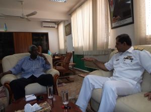 Commodore Asif Khaliq meeting with Director Djibouti National Security Council Mr Hassan Said Khaireh. Photograph by Lt Cdr Aslam