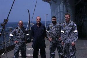 Left to right Able Seaman Luke Luong, Petty Officer (Deck) Steve Tomlinson RFA, Able Seaman Brendan McPherson and Cory Pickett