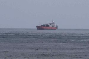 The stricken motor vessel at sea in the Gulf of Aden