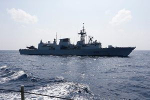 Canadian ship HMCS Toronto transiting through the Bab el Mandeb strait during Operation Quwwat e Bahr