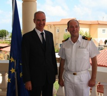 Commodore Jeremy Blunden, Royal Navy, Commander Combined Task Force (CTF) 151 meets with Mr. Etienne de Poncins, Head of the EUCAP Nestor Mission.