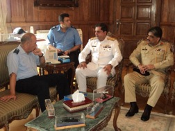 From left to right: Vice Admiral Osama Ahmed Elgendy, Chief of the Egyptian Navy, Commodore Asif Khaliq, Commander CTF 150, Colonel Mushtaq Ali, Defence Attaché for Pakistan