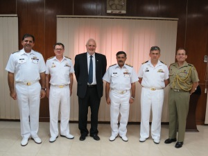 From left to right, former Commander of Combined Task Force 150, Commodore Asif Khaliq (Pakistan Navy), Commander of Combined Task Force 150, Commodore Daryl Bates (Royal Australian Navy), Australian High Commissioner to Pakistan, His Excellency Peter Heyward, Commander Karachi, Vice Admiral Khawaja Ghazanfar Hussain (Pakistan Navy), Combined Task Force 150 Planning and Regional Engagement Officer, Commander Michael Turner (Royal Australian Navy), and Assistant Defence Adviser to Pakistan, Major Rick Lovelock (Australian Army).