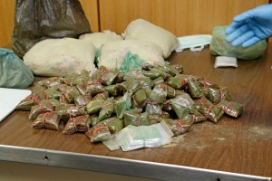 Suspected illegal drugs from a suspicious dhow, on board HMAS Melbourne in the North Arabian Sea.
