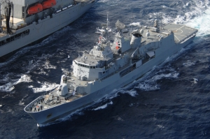 HMNZS Te Mana completes a replenishment at sea with USNS Joshua Humphries