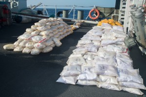 Her Majesty's Canadian Ship Toronto's disposal team destroys illicit narcotics seized on atrafficking vessel