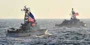 MD130099067 - USCGC Baranof and USS Sirocco during the Photoex on completion of Exercise Lucky Mariner 14-1