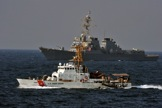 MD130099057 - USCGC Baranof and USS Bulkeley on station post exercise carrying out boat transfers of personnel using HMS Montrose's Sea Boats