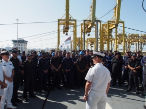 Commodore Aage Buur Jensen, Danish Navy addresses the crew of HMNZS Te Mana. (Photo HMNZS Te Mana)