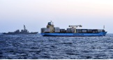 MD130099062 - MV Maersk California and USS Bulkeley during the Photoex on completion of Exercise Lucky Mariner 14-1