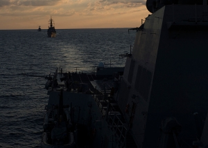 The Japan Maritime Self-Defense Force destroyer JDS Ariake (DD 109), middle, and the South Korean destroyer ROKS Choi Young (DDH-981) transit behind the guided-missile destroyer USS Bulkeley (DDG 84) during a combined counter piracy exercise.  (U.S. Navy photo by Mass Communication Specialist 3rd Class Shane A. Jackson/Released)