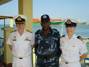 Commander Combined Task Force 150, Commodore Daryl Bates, Royal Australian Navy, Chief of the Djibouti Navy, Colonel Abdourahman Aden Cher and Regional Engagement Officer Combined Task Force 151, Lieutenant Commander Maria Vang Knudsen, Royal Danish Navy meet in Djibouti.