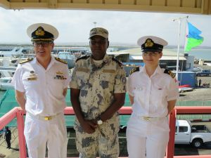 Commander Combined Task Force 150, Commodore Daryl Bates, Royal Australian Navy, Commandant of the Djibouti Coast Guard, Lieutenant Colonel Wais Omar Bogoreh and Regional Engagement Officer Combined Task Force 151, Lieutenant Commander Maria Vang Knudsen, Royal Danish Navy meet in Djibouti.