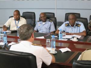 Commander Combined Task Force 150, Commodore Daryl Bates, Royal Australian Navy and Commander of the Navy of Mozambique, Rear Admiral Lazaro Henrique Lopes Menete discuss maritime security in Maputo, Mozambique.