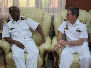 Commander Combined Task Force 150, Commodore Daryl Bates, Royal Australian Navy and Deputy Commander of the Kenya Navy, Brigadier C. M.  Kahariri discuss maritime security.