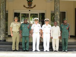 L-R Australian Defence Attaché to the African Union, Colonel James Davey, Chief of Medical Services, Major General (Dr) Adam Simon Mwabulanga, representing the Chief of Staff to the Chief of the Tanzania Peoples' Defence Force, Commander Combined Task Force 150, Commodore Daryl Bates, Royal Australian Navy, Regional Plans and Engagement Officer Combined Task Force 150, Commander Michael Turner, Royal Australian Navy, Acting Director Defence Intelligence, Colonel Kapesa, and Military Assistant to the Chief of the Tanzania Peoples' Defence Force, Colonel Remigius Castory Ngumbi, meet to discuss maritime security in Dar es Salaam.